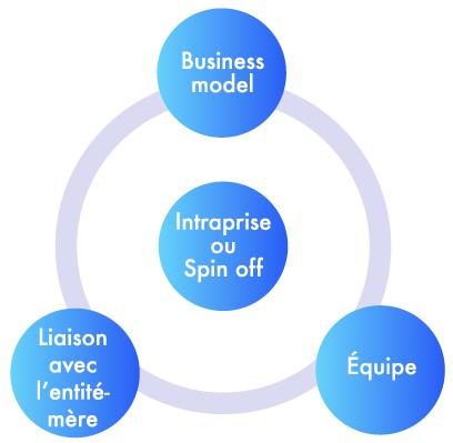 Business model, Equipe et Laison avec l'entité mère gravitent autour de l'intraprise